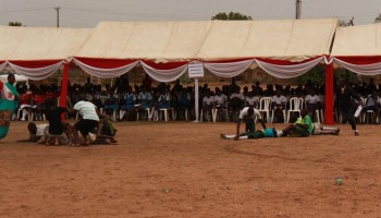 Children act out skits to highlight awareness of the dangers of landmines