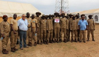 TDI Deminers and their trainers stand #togetheragainstmines in Juba
