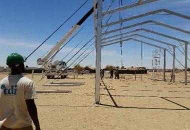 Team member observes workshop tent build